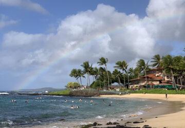 Poipu Beach with a rainbow
